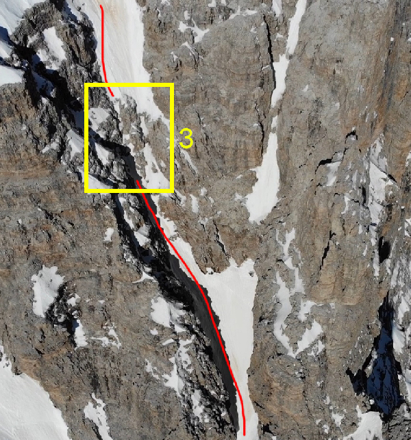 IL terzo ed ultimo tratto di arrampicata del canale est