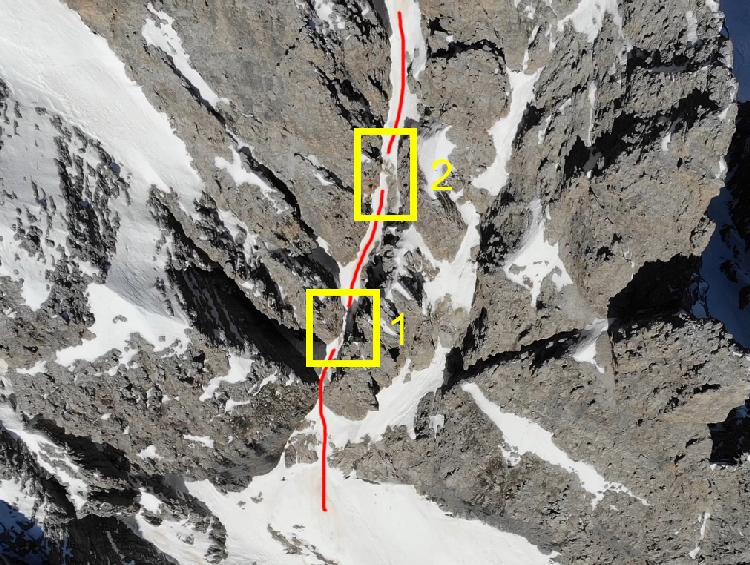 I primi due tratti di arrampicata del canale est