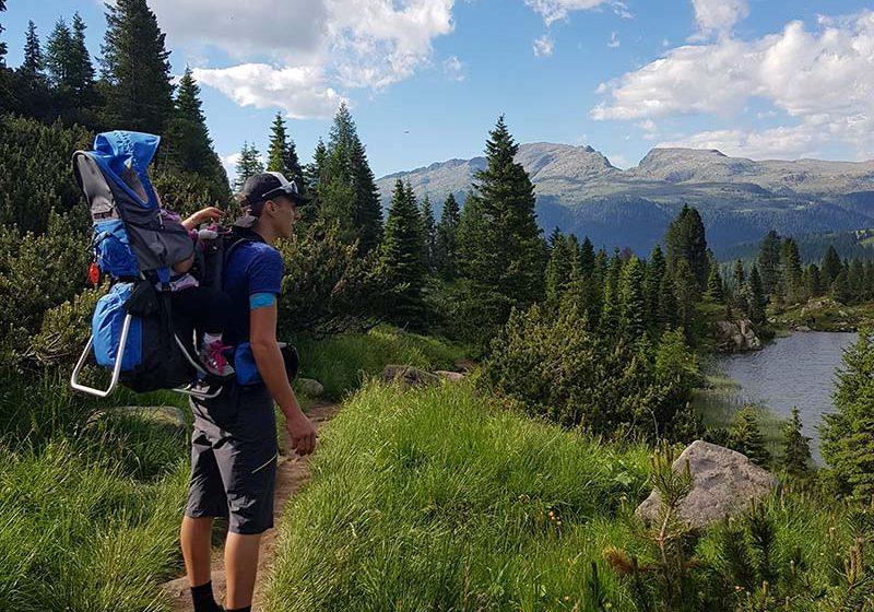 Trekking con bamino nello zaino, laghetti di Colbricon - outdoorsoul.it